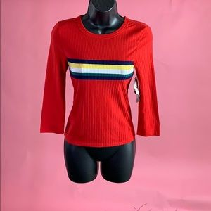 Long sleeve red striped shirt